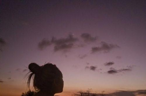 sunset girl purple sky