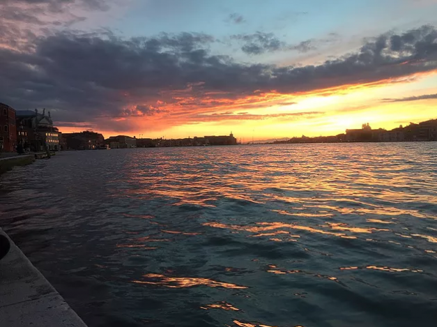 venice sunset sky water canal st marks