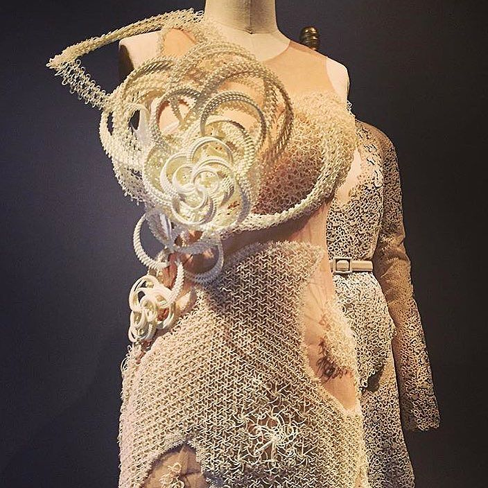 3d printed cream colored dress