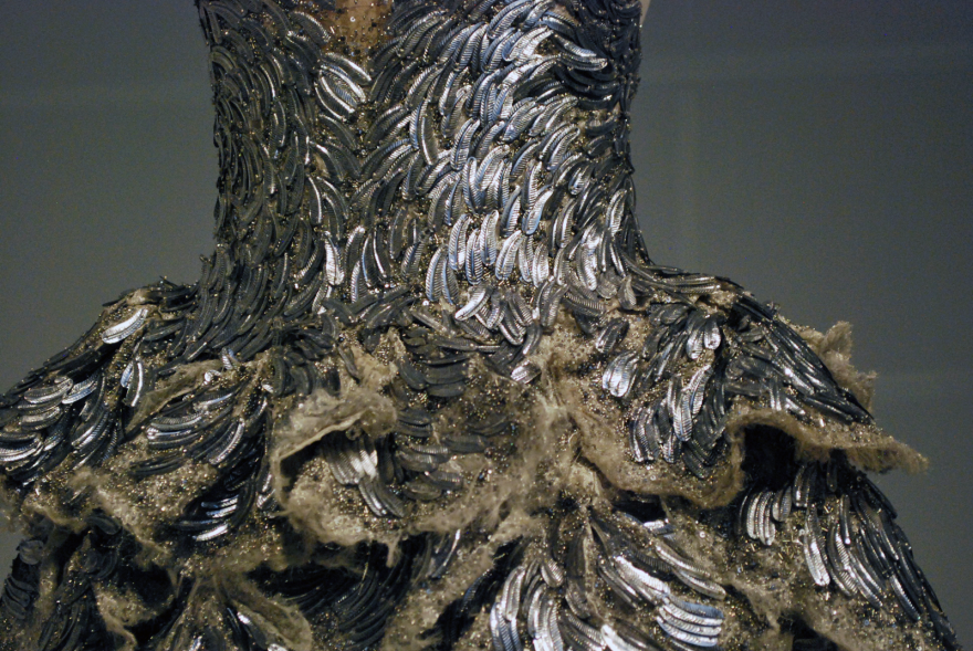 details of scale dress