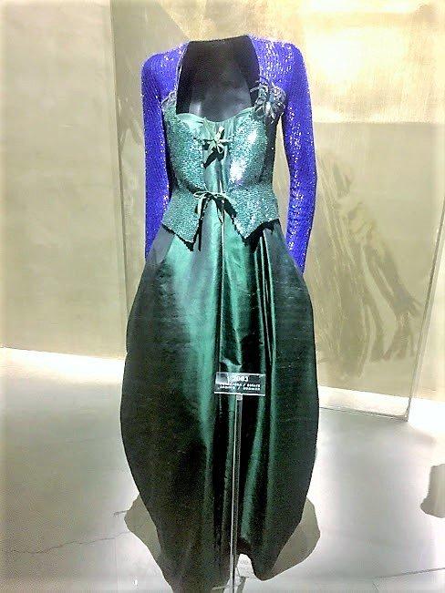 purple green dress mannequin