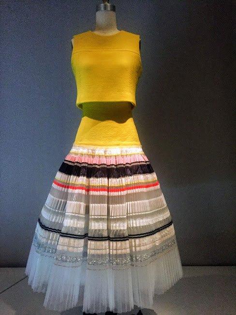 yellow and horizontal striped dress