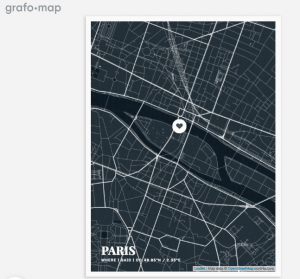 Map of Paris with inscription