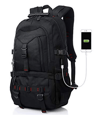 black backpack with usb charger